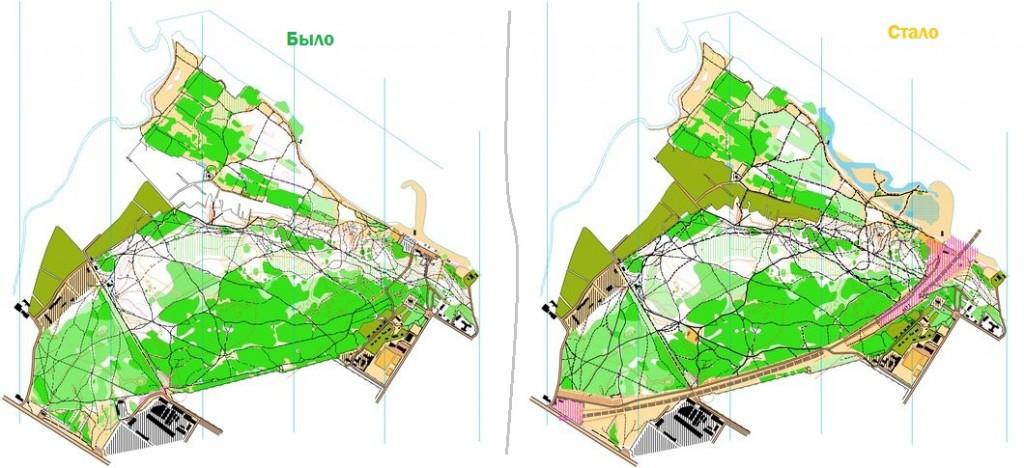 Велоориентирование. карта Бугринской рощи старая и новая